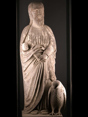 Statue of St. John with a eagle