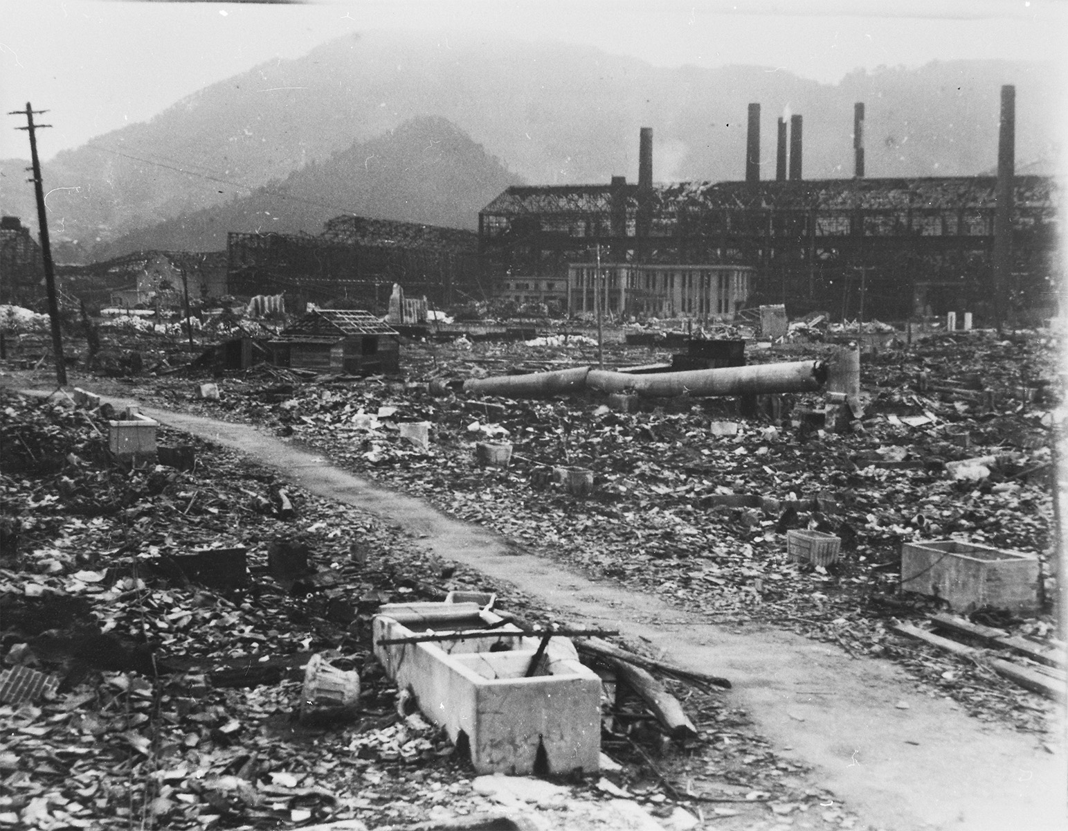 Mitsubishi Nagasaki Steel Works The First Plant and environs seen from Mezame-machi