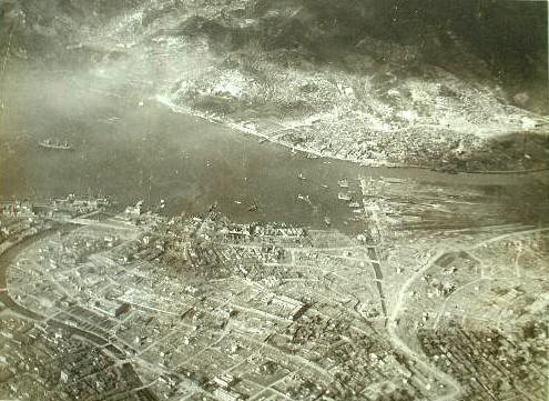 The central Nagasaki seen from the sky over Mt. Kazagashira