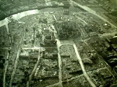Nagasaki Prefectural Office and environs seen from the sky over Shin-machi